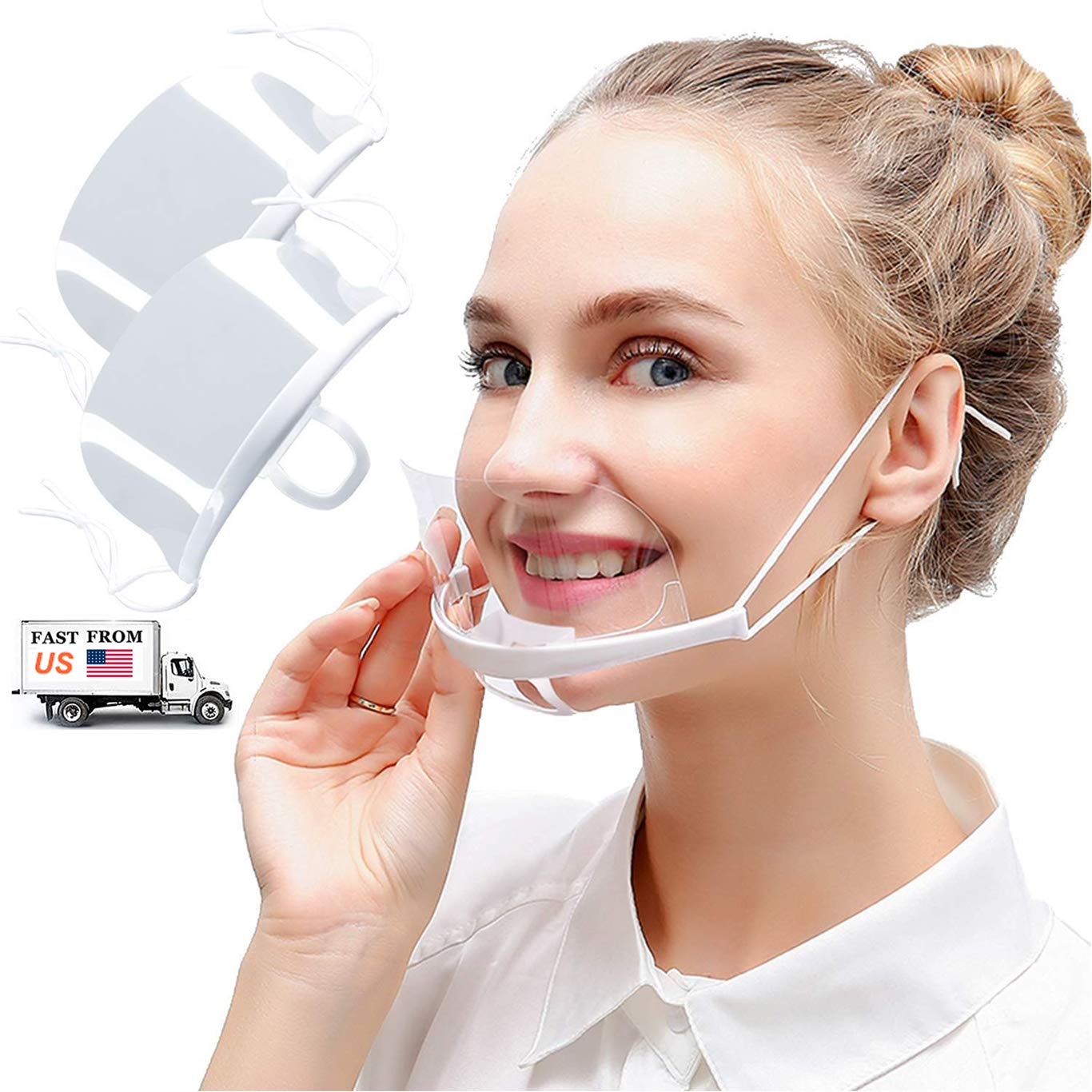 10pcs Anti-Fog Transparent Open Face Guard- Reusable Face Mouth with Adjustable Strap Anti-Spitting Protective Clear Film Cover for Food Truck Restaurant Hotel Mall Beauty Salons
