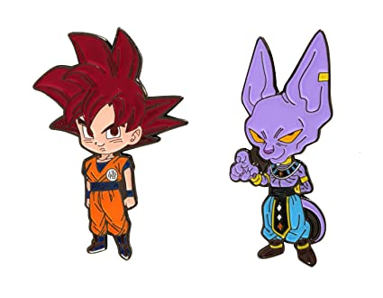 Dragon Ball Super Ssg Super Saiyan God Red Goku Beerus Metal Pins Set Of 2