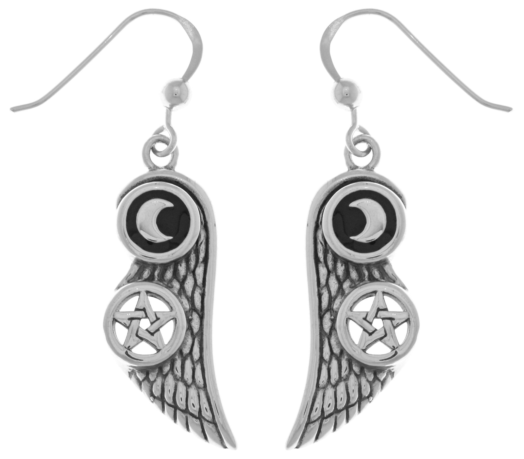 Jewelry Trends Moon and Pentacle Star Wing Sterling Silver Dangle Earrings