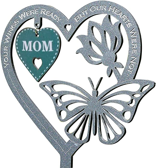 Om Memorial Gift Butterfly Ornament, Garden Memorial Plaque Mothers Day Fathers Day Crafts Gifts, Memorial Keepsake Decoration, Lawn Garden Yard Signs Stakes Outdoor Decor (Mom)