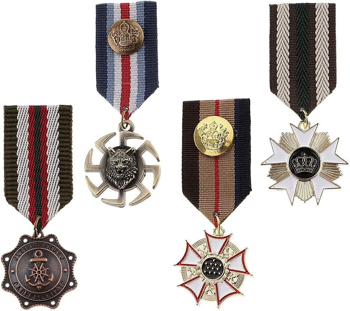 P Prettyia 4 Unids Retro Militar Broche Medalla Broche Broches Insignia De Metal Broche Pin Vintage Star Charms Broches: Amazon.es: Ropa y accesorios
