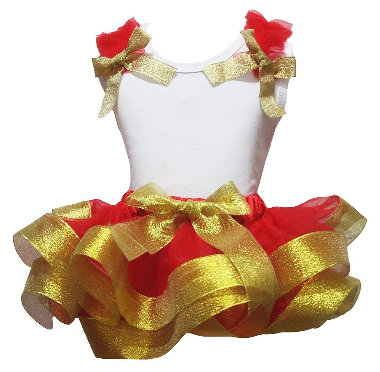 Petitebella White Cotton Shirt Red Petal Skirt Golden Ribbon Outfit Set Nb-8y