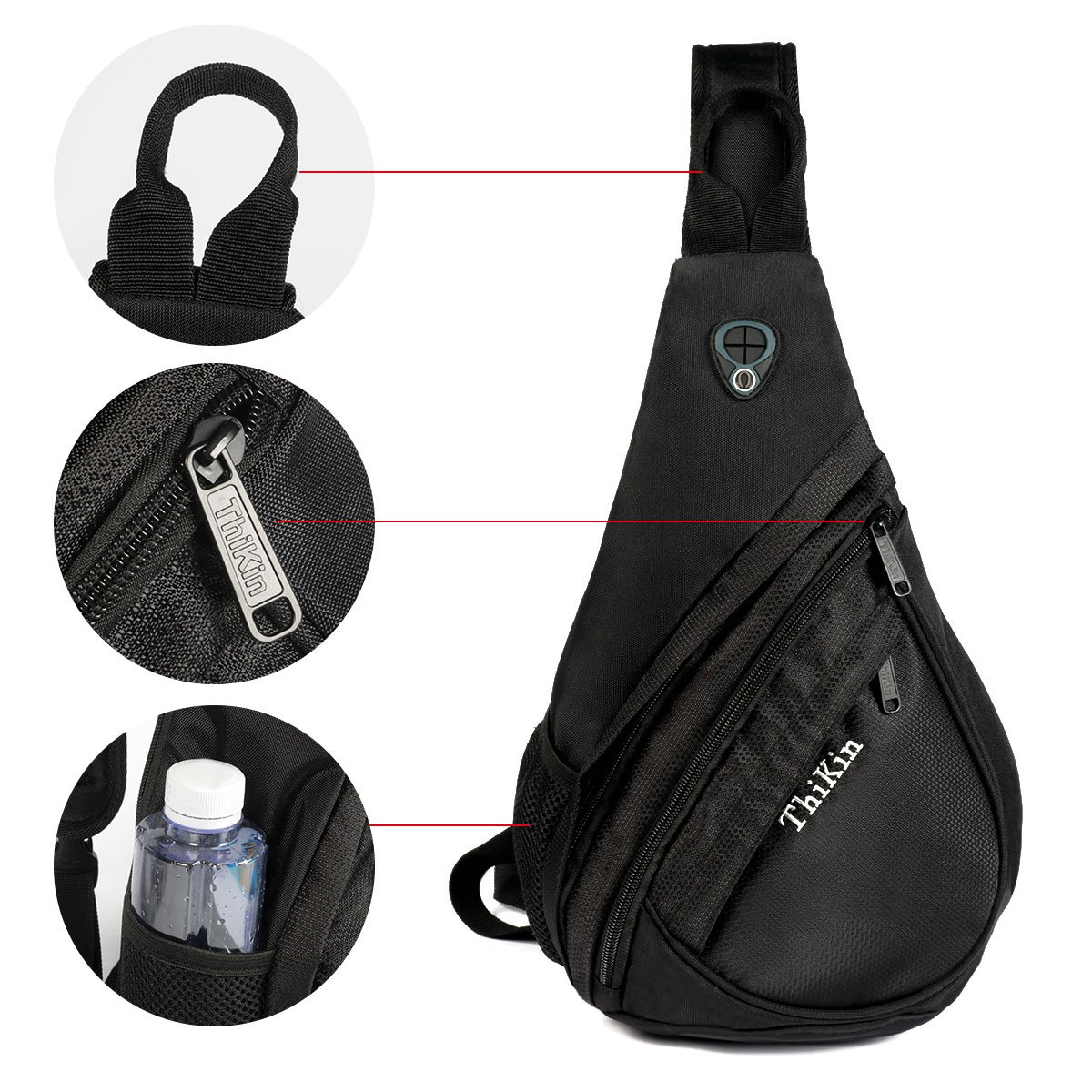 1712025cb5 Amazon.com  ThiKin Packable Shoulder Backpack Sling Chest CrossBody Bag  Cover Pack Rucksack for Bicycle Sport Hiking Travel Black  Sports   Outdoors