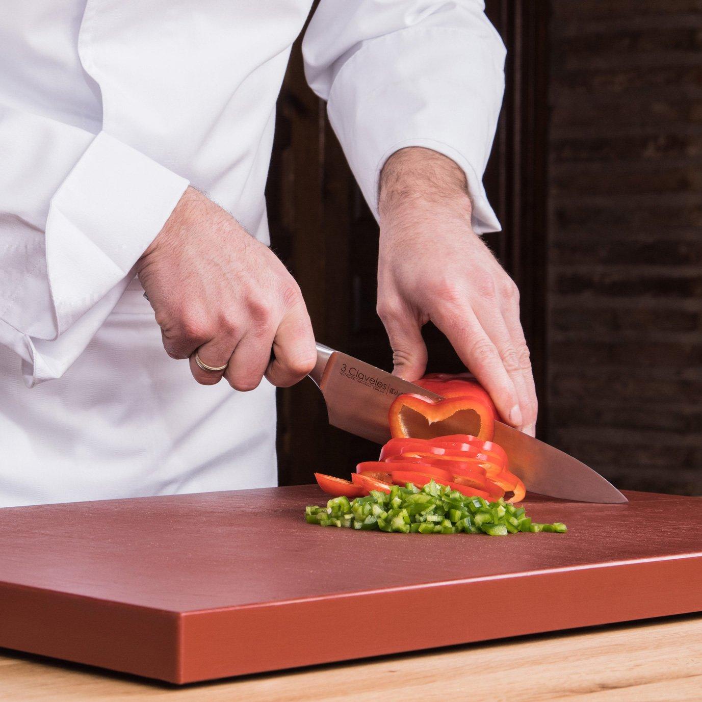 3 Claveles - Cuchillo Cocinero Forjado, Pulido Mate, Acero Inoxidable, línea Toledo - (20cm - 8