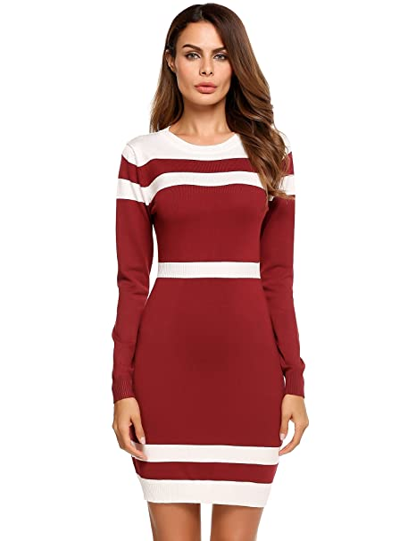 7b98f8ad88c2 Beyove Women's Colorblock Striped Long Sleeve Cotton Knit Sweater Bodycon  Dress Red M