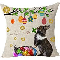 """FELENIW Happy Autumn Fall Big Tree Maple Leaf Bicycle Throw Pillow Cover Cushion Case Cotton Linen Material Decorative 18"""" x18'' Square"""