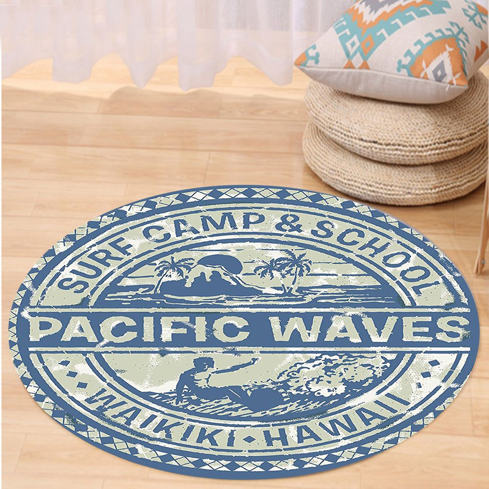 VROSELV Custom carpetModern Pacific Waves Surf Camp and School Hawaii Logo Motif with Artsy Effects Design for Bedroom Living Room Dorm Khaki Slate Blue Round 34 inches