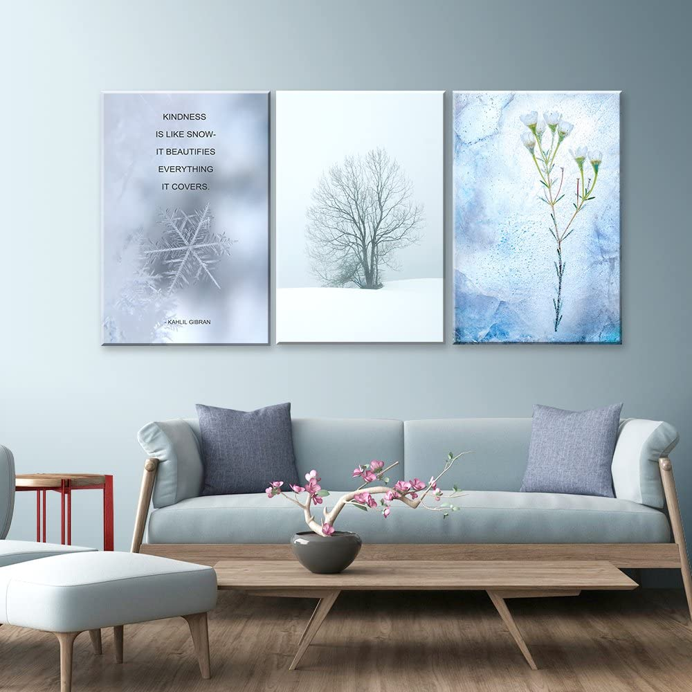 3 Panel Snow in Winter and Inspirational Quotes x 3 Panels, Created By a Professional Artist, Magnificent Artistry