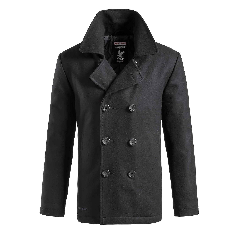 TROOPER Pea Coat Navy Caban Jacket - Black, M