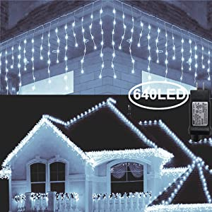 Hezbjiti 8 Modes LED Icicle Lights,65.6 FT 640 LED 120 Drops Fairy String Lights Plug in Extendable Curtain Light String Christmas Lights for Bedroom Patio Yard Garden Wedding Party (Cold White)