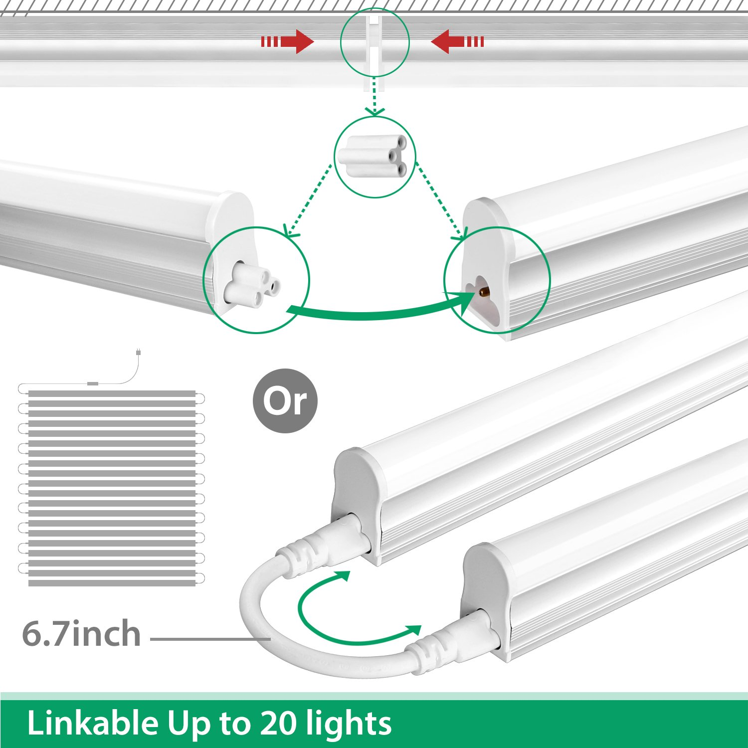 FrenchMay LED T5 mini utility linkable shop light 4ft, 22W, 85CRI, 2200Lumens, 5000K, 32w Fluorescent Equivalent, integrated ceiling light & under Cabinet shop light for garage, workshop, basement by FrenchMay (Image #2)