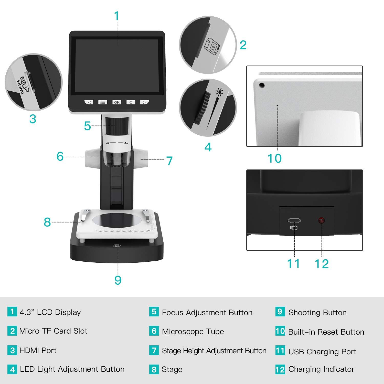 Soporte para Windows y Mac PC 4.3 Pulgadas TFT Pantalla,Bater/ía Recargable MoKo USB LCD Microscopio Digital con 2M HD Sensor de Imagen,50x-1000x Ampliaci/ón Blanco y Negro