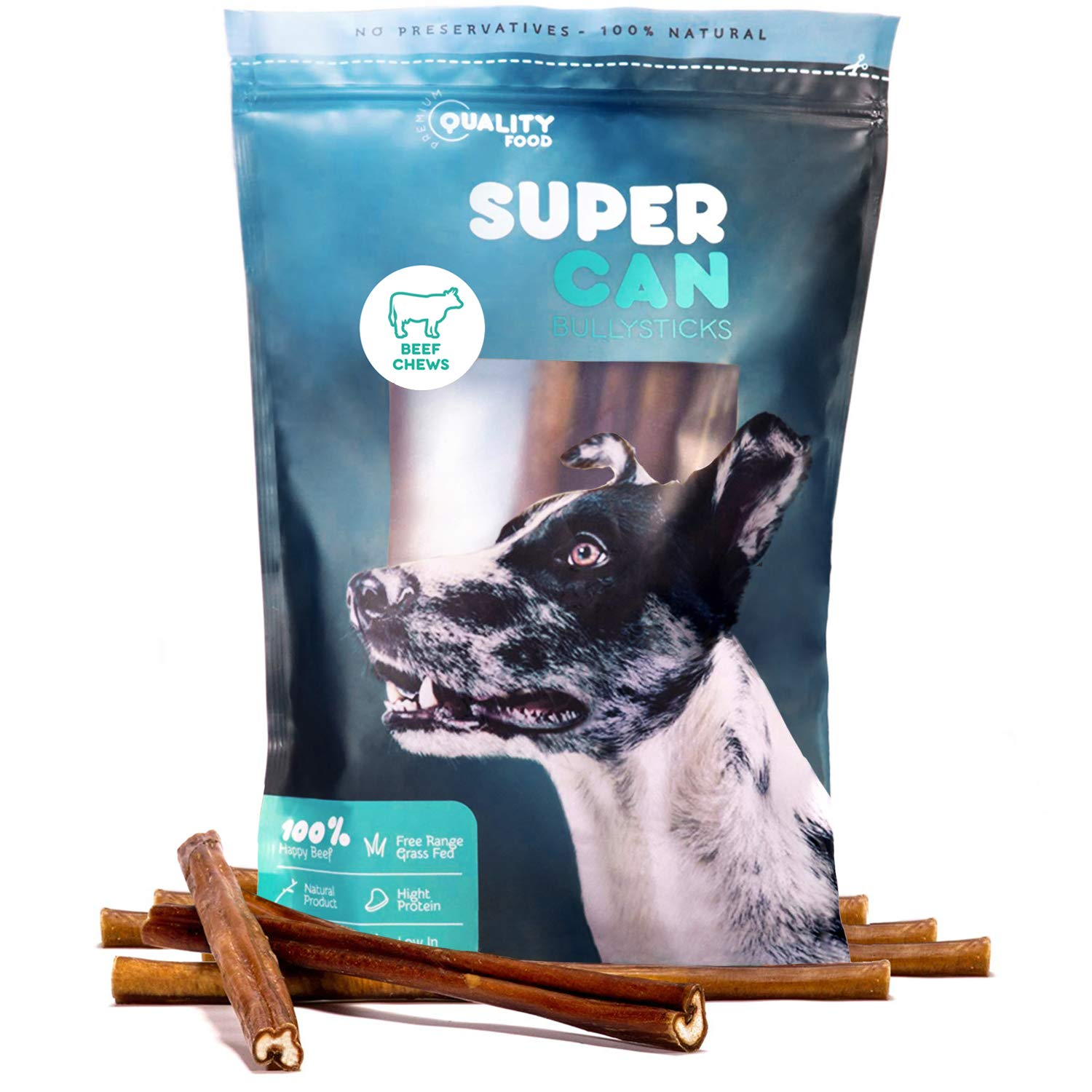 12- Prime Thick Odor Free Bully Sticks [ 7 Pack ] by Super CAN Bully Sticks, 100% Natural Free Premium Cattle Beef. Healthy Nutritious & Delicious Dog Treats and Chews for All Dog Sizes