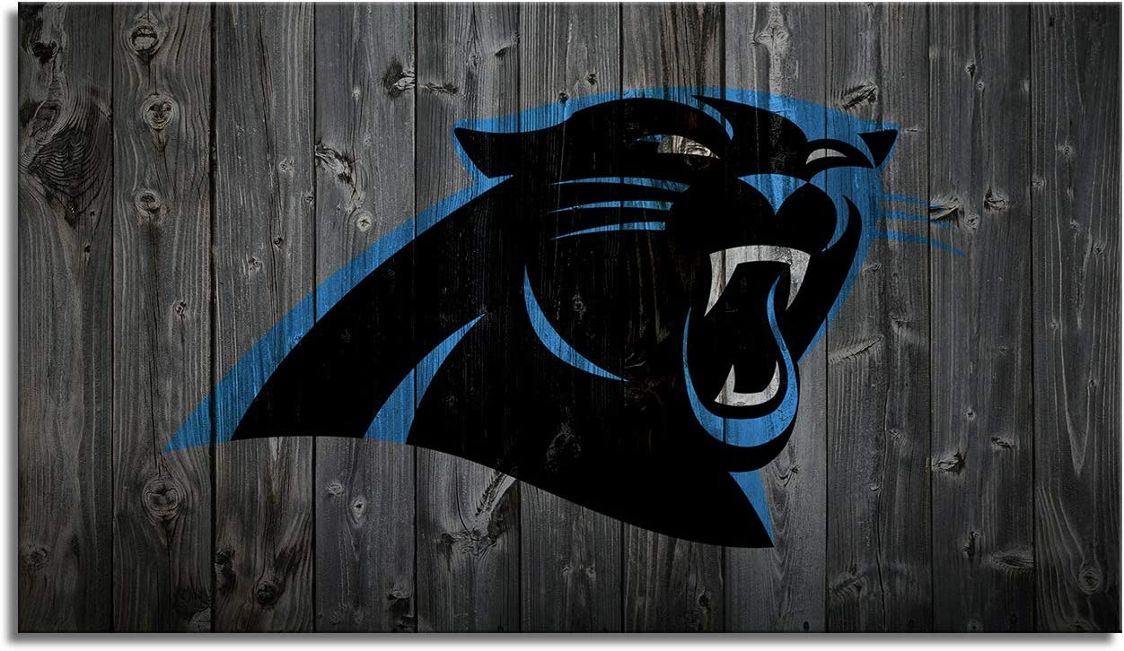 Wall Art Carolina Panthers Canvas Prints Pictures Sports Football Poster Framed Home Decor Decoration Living Room Bedroom Game Room Paintings Ready to Hang(28''Wx16''H)
