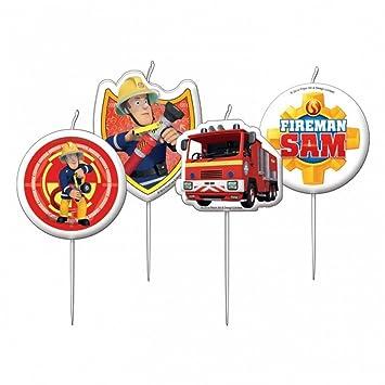 Juego 4 velas Sam el bombero 7,5 cm - decoración Gateau ...