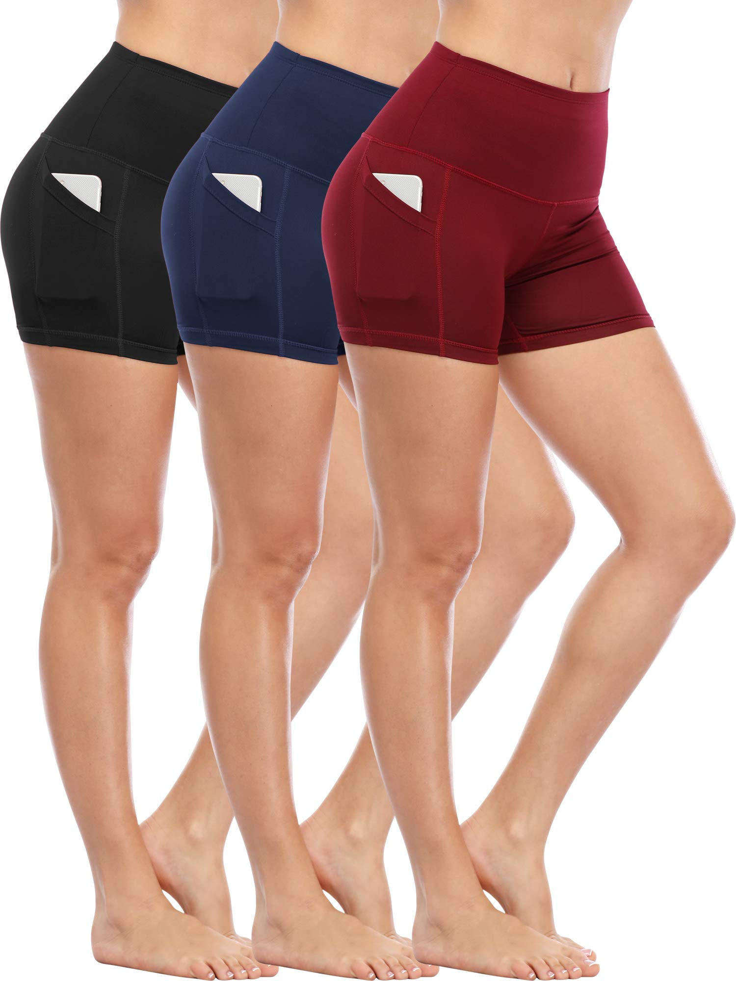Cadmus Women's Tummy Control Workout Running Short Out Pocket,3 Pack,1016,Black & Navy Blue & Wine Red,XX-Large by Cadmus