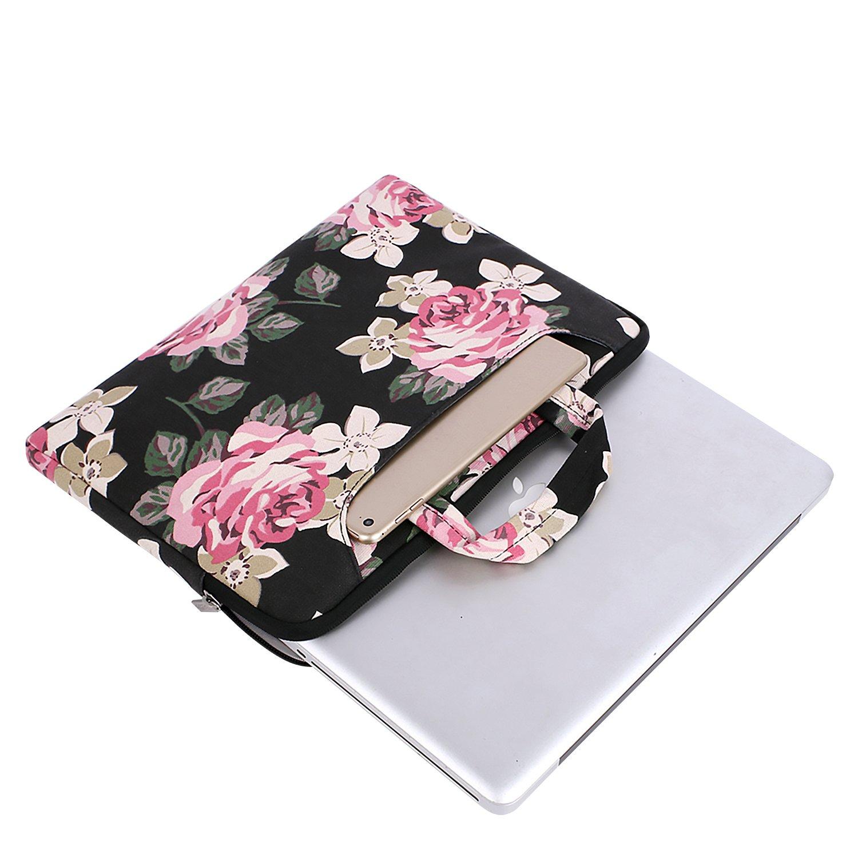 Rose MOSISO Housse Macbook Air 13 A1932 2018//MacBook Pro 13 A1989 A1706 A1708 2018 2017 2016//Surface Pro 6//5//4//3,Toile Sacoche Rose Motifs Messager Sac Bandouli/ère Ordinateur Portable