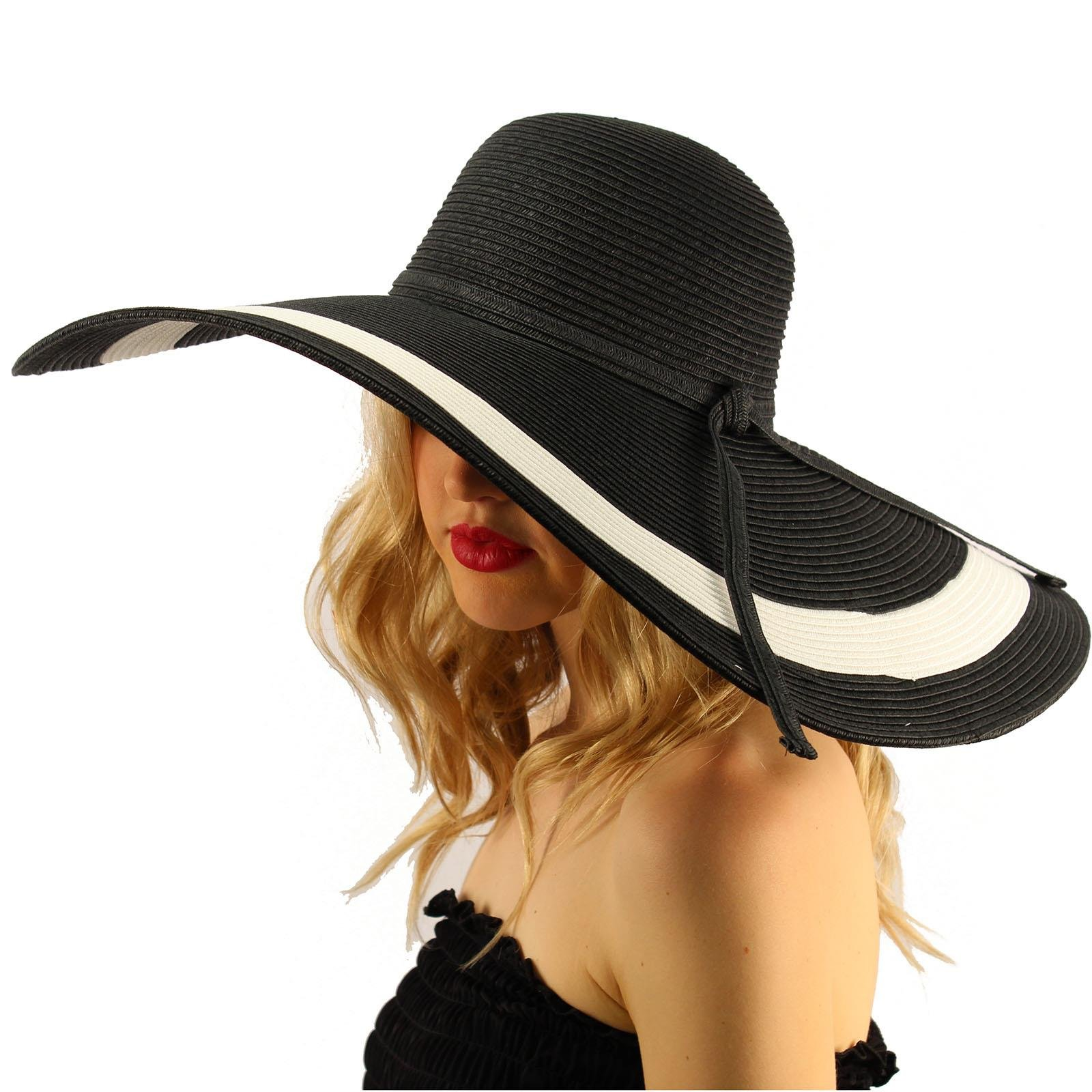 Summer Elegant Derby Big Super Wide Brim 8'' Brim Floppy Sun Beach Dress Hat 7-1/4'' Brim 2 Tone - Black