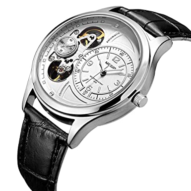 Amazon.com: MEGIR Quartz Watches Automatic Second Hand Running Leather Strap: Watches