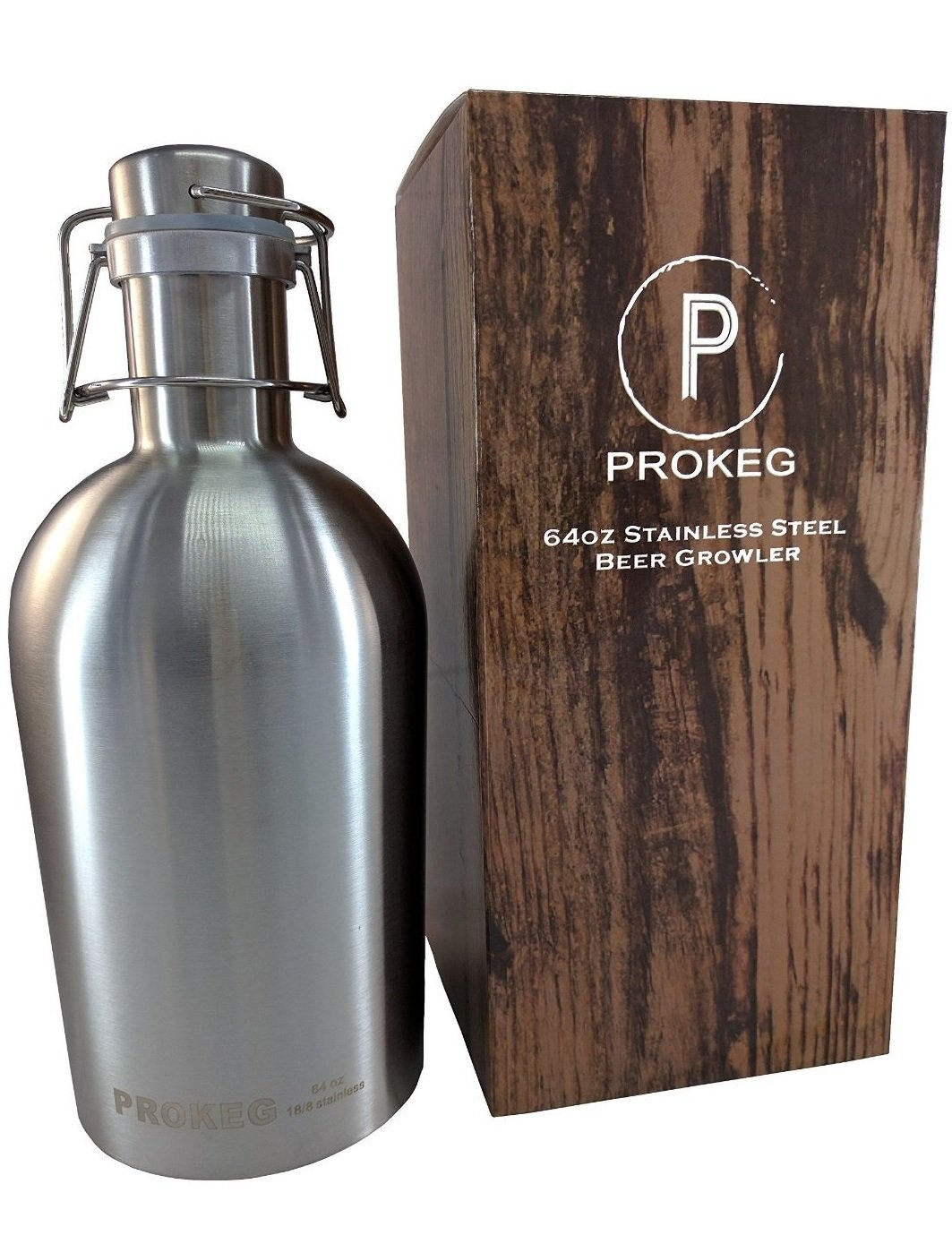PROKEG - Stainless Steel Beer Growler 64oz 2L Flip Top Single Wall PREMIUM Growlers