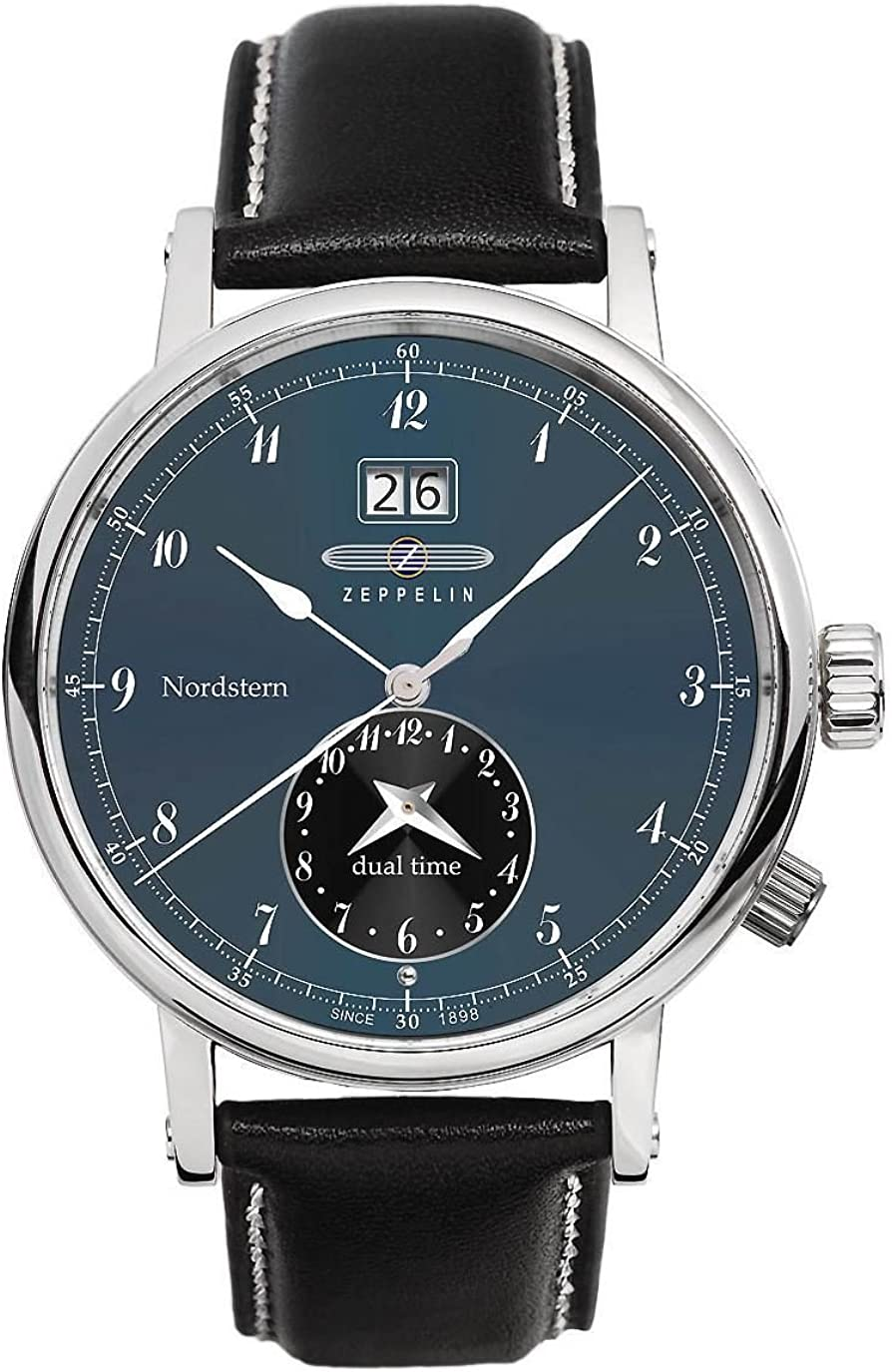 Zeppelin Watches 7540-3 - Reloj analógico de Cuarzo para Hombre con Correa de Piel, Color Negro