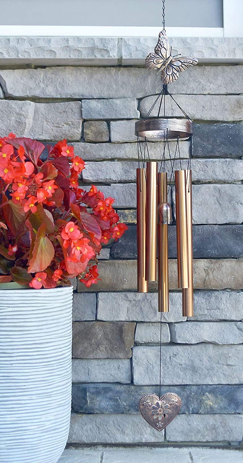 Heart in Heaven Memorial Gift Sympathy Wind Chime PRIME Rush Shipping for Funeral Loss in Memory of Loved One Copper Listen to the Wind Memorial Garden Remembering a loved one Ships Today