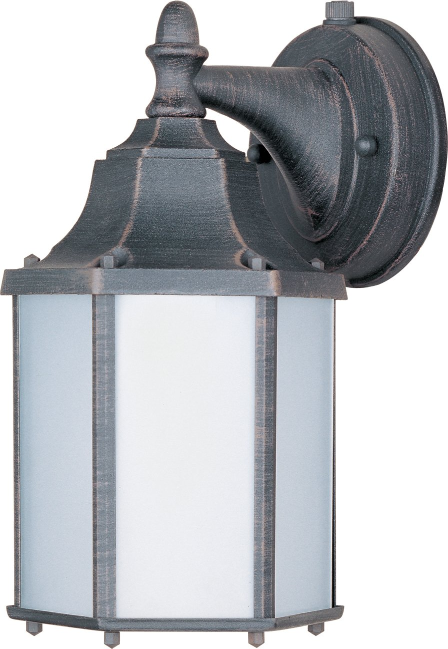 Maxim 86926RP Side Door EE 1-Light Outdoor Wall Mount, Rust Patina Finish, Frosted Glass, GU24 Fluorescent Fluorescent Bulb , 60W Max., Dry Safety Rating, Standard Dimmable, Glass Shade Material, 1344 Rated Lumens