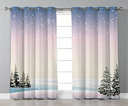 74f93b275f5 Thermal Insulated Blackout Grommet Window Curtains,Winter,Snowfall in the  Forrest Pine Trees Northern