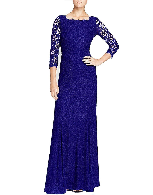 HanLuckyStars Vestido de Noche Largo Encaje Elegante con 3/4 Mangas para Mujer (Negro/Azul): Amazon.es: Ropa y accesorios