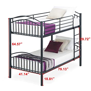 Amazon Com Black Metal Frame Bunk Bed Can Separate 2 Beds