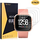 PEYOU [4 Pack] Screen Protector Compatible for Fitbit Versa/Versa Lite, HD Clear 9H Tempered Glass Screen Protector 2.5D Round Edge, Scratch-Resistant, Bubble Free Compatible for Versa 2018 and Versa Lite Edition Smartwatch 2019, Not for Versa 2