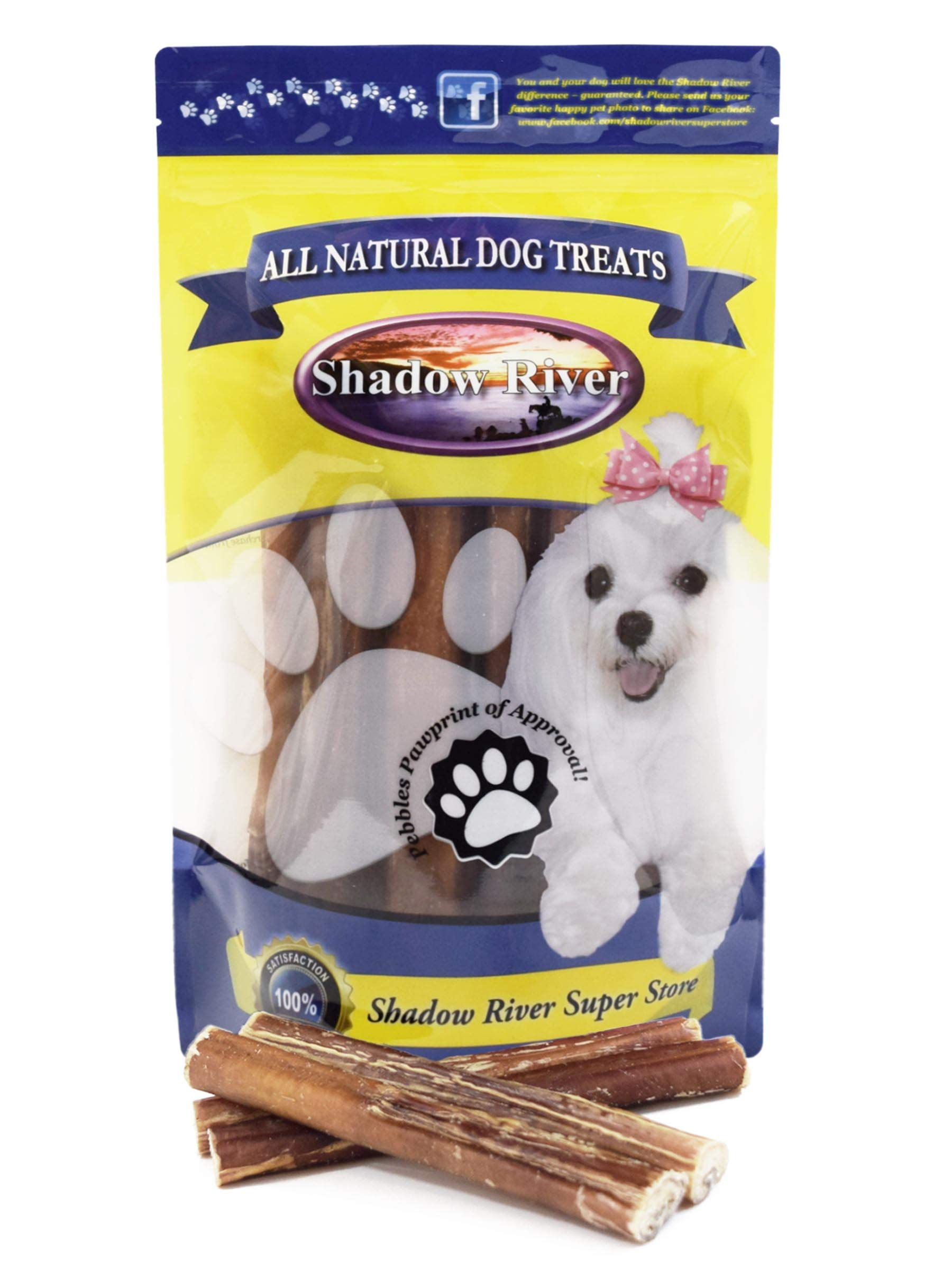 Shadow River 25 Pack 6 Inch Thick All Natural Premium Beef Bully Sticks for Dogs