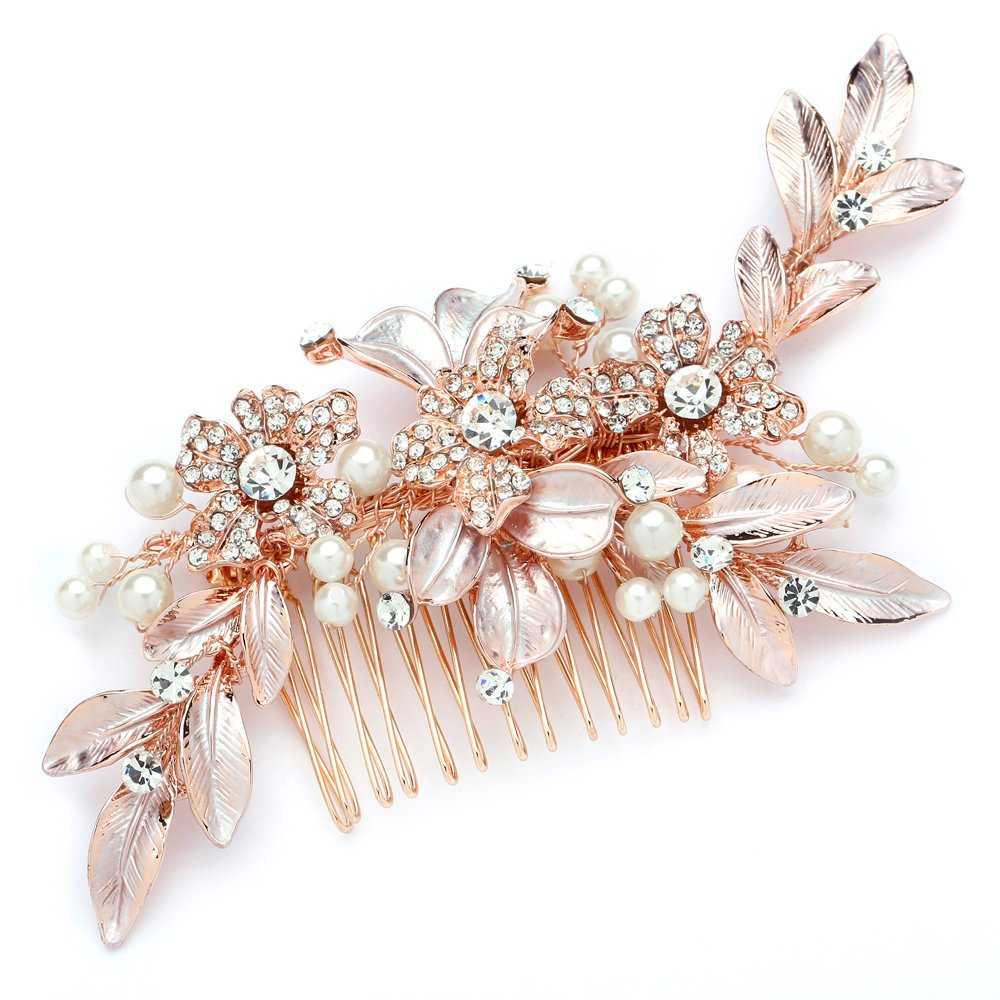 Mariell Designer Bridal Hair Comb with Hand Painted Rose Gold Leaves and Pave Crystals 4437HC-I-RG