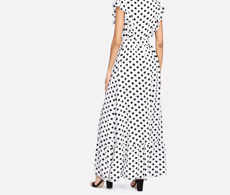 Unique-Shop dresses Ruffle Trim Polka Dot Textured Dress Round Neck Sleeveless High Waist Women Maxi Dress 2018 Elegant