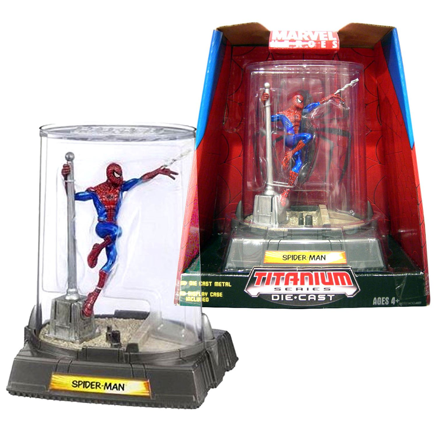 Titanium Die Cast Marvel Heroes Year 2006 Series 4 Inch Tall Action Figure Color Version SPIDER-MAN Hanging At The Pole with Display Case HSBR