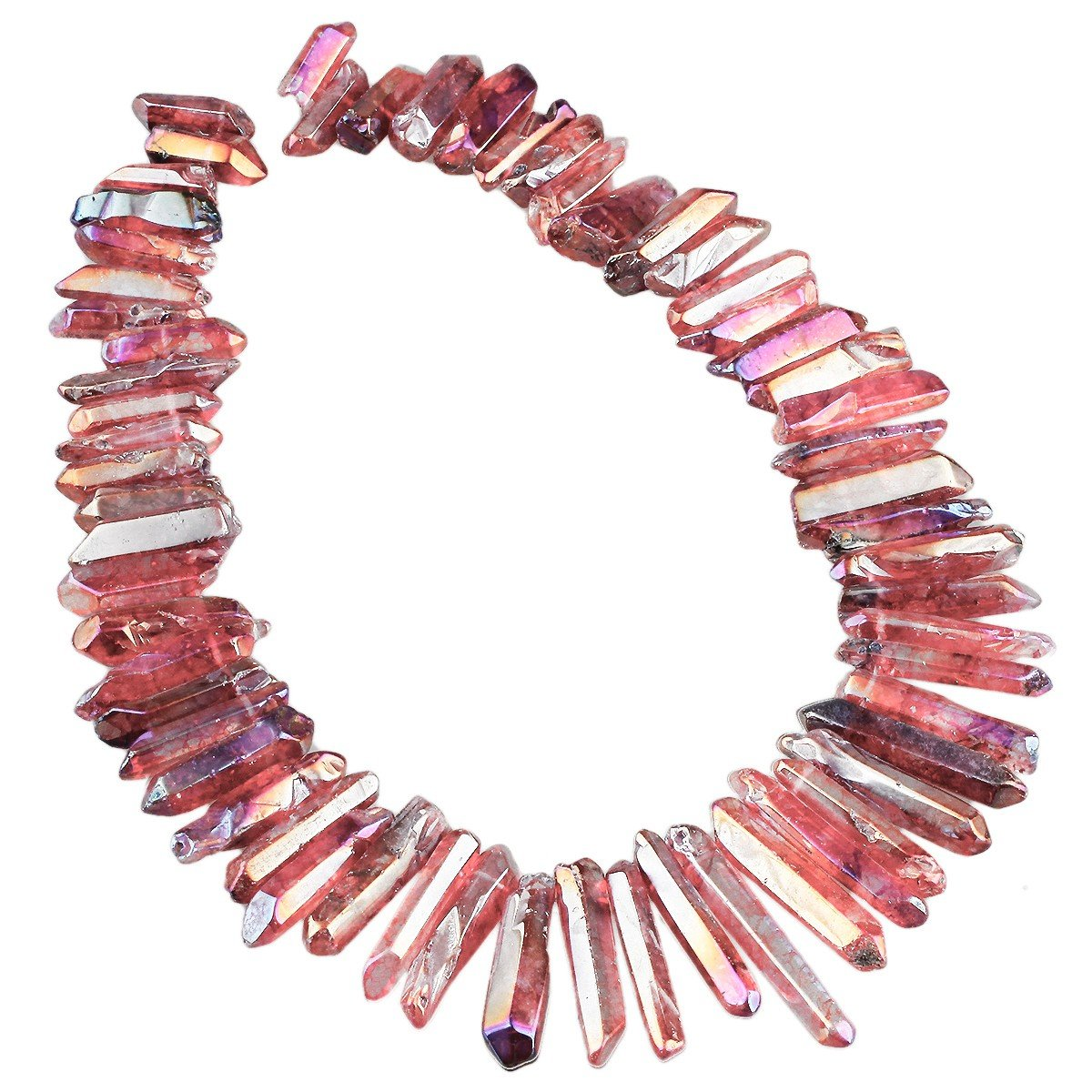 rockcloud Natural Rock Crystal Points Titanium Coated Clear Quartz Sticks Spikes Top Drilled 15 inch Strand, Pink& Blue 4336814887