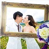 LUOEM Cadre à Selfie Frame Photo Booth accessoires pour La Fête d'Anniversaire de Mariage (Or)