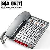 Saiet 13500512 Telefono Multifunzionale a Tasti Grandi Personalizzabile con Foto, Vivavoce, Family