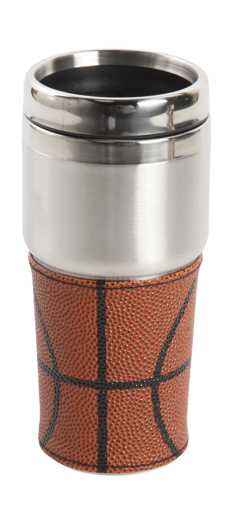 Gibson Home 92621.03 Sports Edition Double Wall Basketball Design Tumbler with Leather Pouch, 15 oz, Orange
