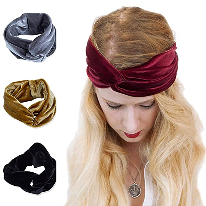 AWAYTR Turban Headwrap Headband for girls Vintage Velvet Soft ... 99e4f73f80c