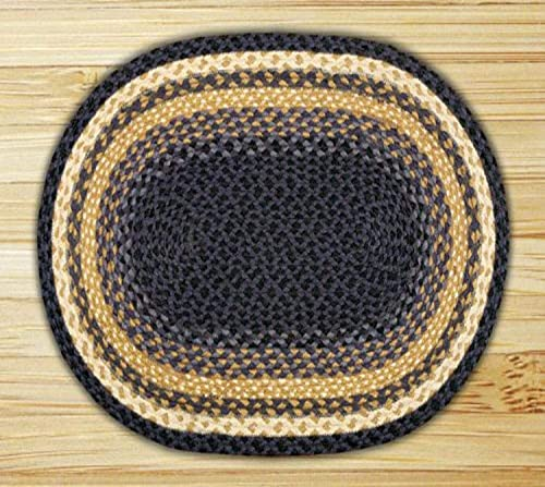 Earth Rugs Oval Area Rug, 20 x 30 , Light Dark Blue Mustard