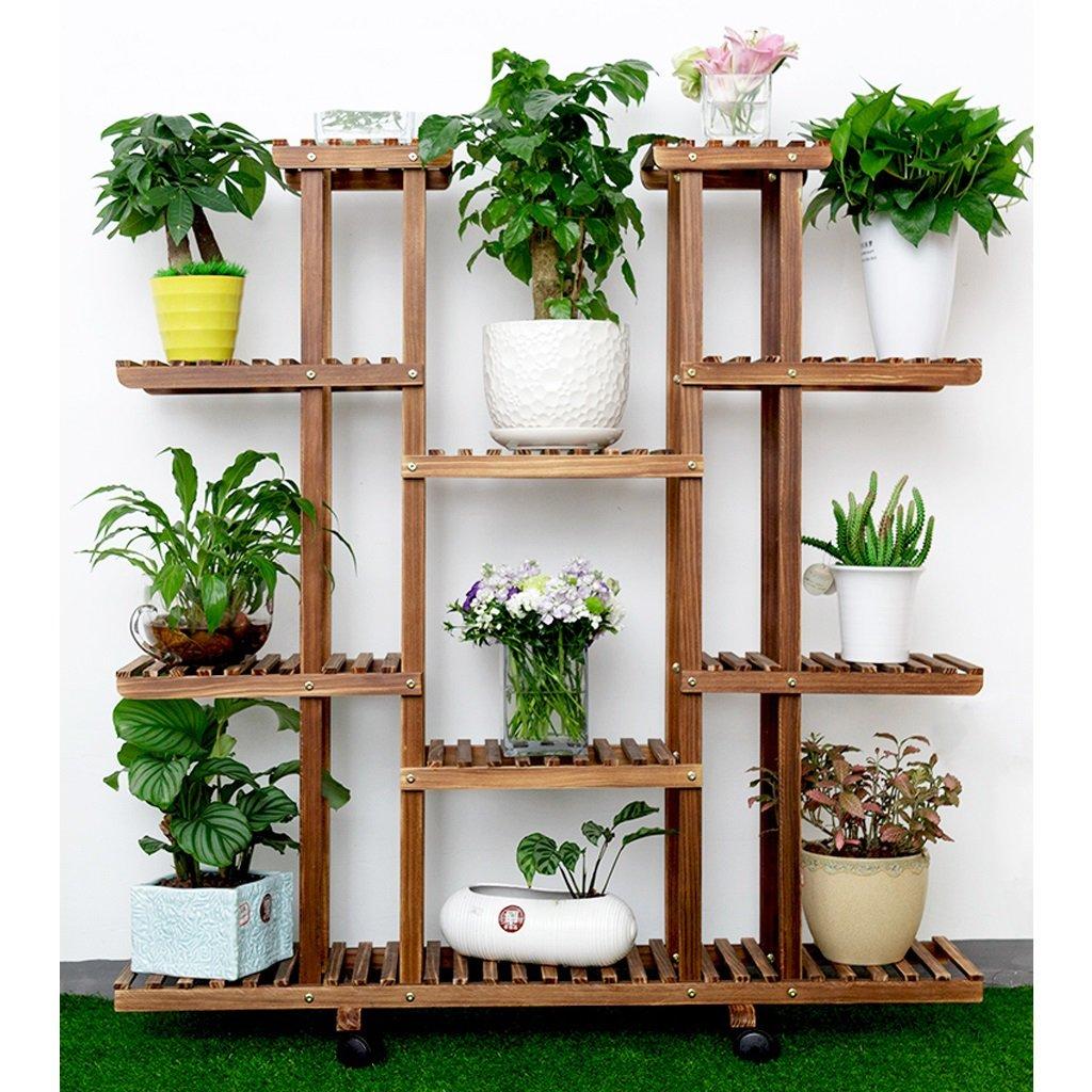 Assemblaggio multistrato a base di fioriere in legno massello per vasi da fiori (dimensioni   Wheeled)