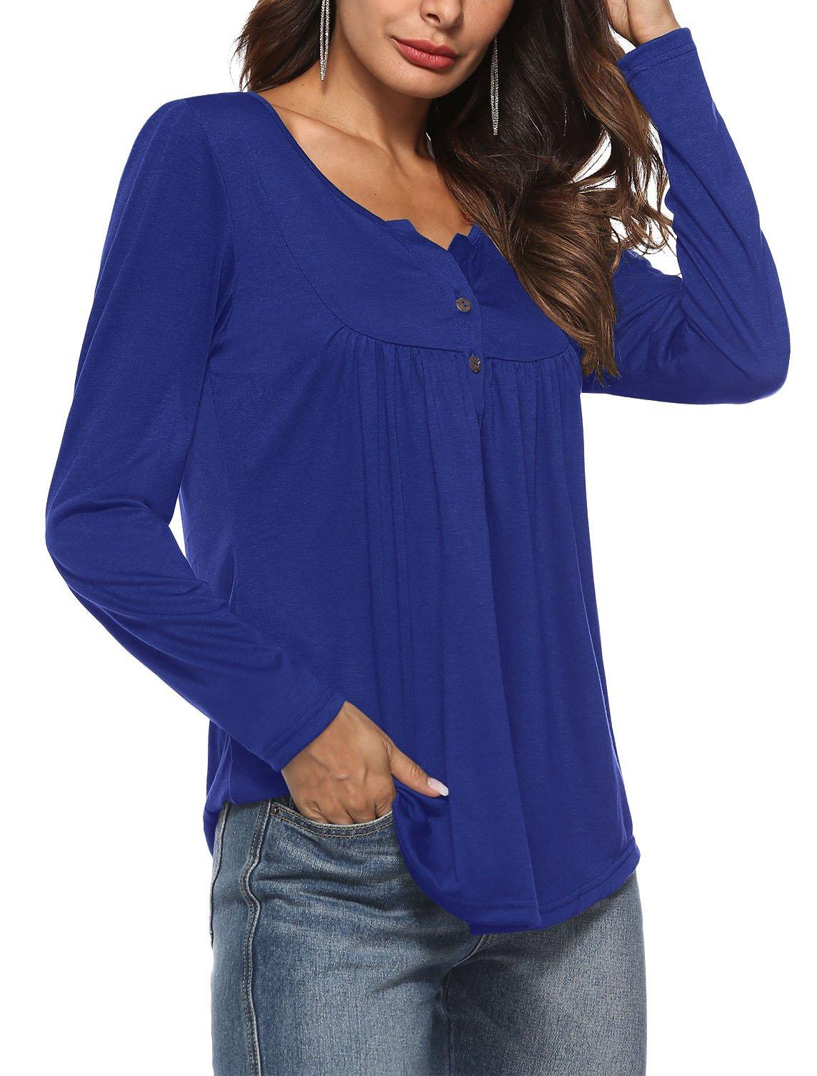 JoYang Womens Long Sleeve Comfy V Neck Loose Casual Button Down Shirts Blue XL