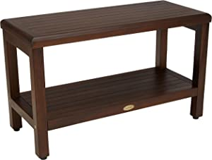 "Decoteak Classic 30"" Teak Shower Bench with Shelf- Armless Open Back"