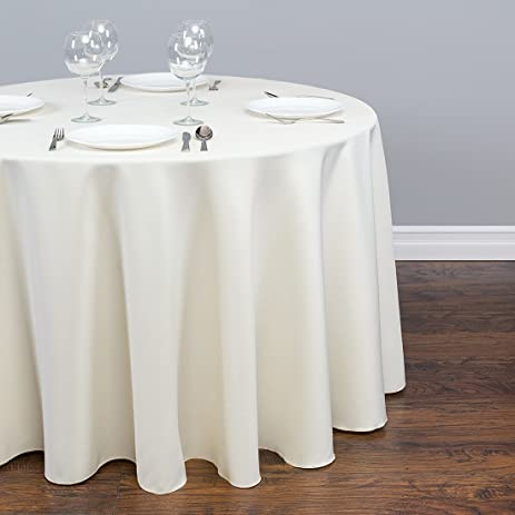 LinenTablecloth LTC 120RD 010105 120 In. Round Polyester Tablecloth Ivory  120 In.