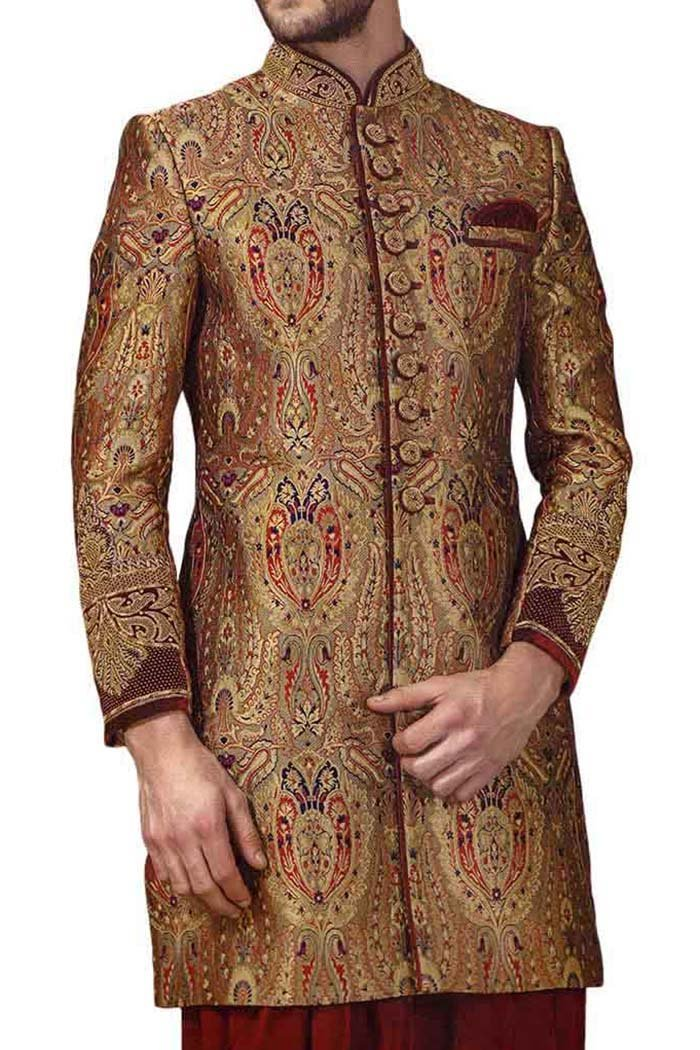 INMONARCH Mens Indowestern Prince Look 3 Pc 10 Button IN519 42S Brown