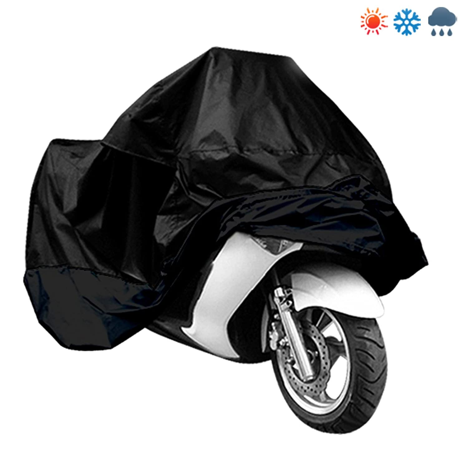 Surepromise Black Motorcycle Motorbike Waterproof Water Resistant Rain UV Protective Breathable Cover Outdoor Indoor with storage bag Large
