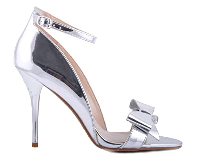 5a66173fce6 Maggie Boutique Silver Shiny Metallic Ankle Strap Sandals Bow Detail  Wedding High Heels Bridal Party  Amazon.co.uk  Shoes   Bags
