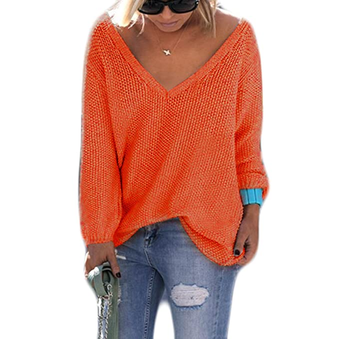 Mujer Moda Casual Blusa Manga Larga Camisa Camiseta con V-Cuello Flojo Crochet Tops Color