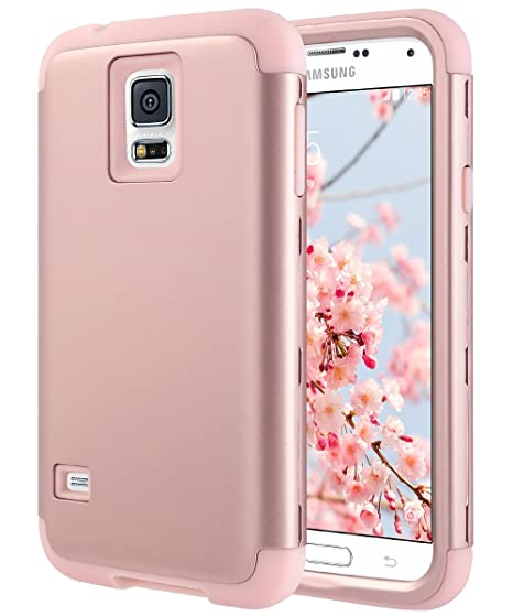 purchase cheap 69f5c c0f78 ULAK Galaxy S5 Case, S5 Case, Shock Resistant Hybrid Soft Silicone Hard PC  Cover Case for Samsung Galaxy S5, Will NOT Fit S5 Active (Rose Gold)